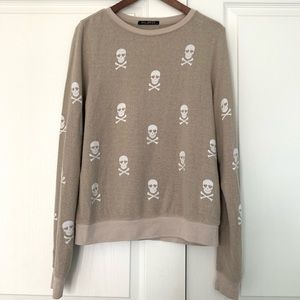Wildfox Skull and Crossbones Beige Sweater